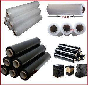 Pallet Shrink Stretch Cling Film Rolls 400MM Black/Clear Wrap Parcel Packing