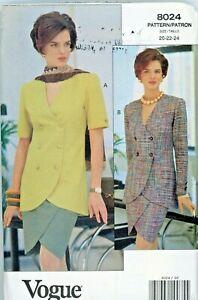 Misses Top (Jacket) & Skirt Vogue Vintage Pattern 8024 Sizes 20-24 Petite Uncut
