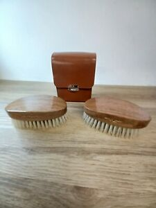 Pair of quality Vintage Hand grooming Brushes In Leather Box C1950s