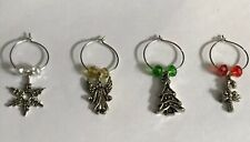 4 Piece Christmas Holiday Wine Charm Key Ring Silver Plated Set Angel Tree New
