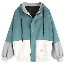 Women Long Sleeve Corduroy Patchwork Oversize Jacket Windbreaker Coat Overcoat Wine Red 3xl