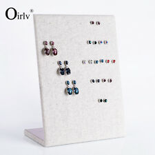 Oirlv Earring Display Rack Stand for Craft Booth L Shape Wood Board with Linen