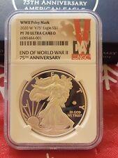 🔥 2020 W End World War II 2 75th American Silver Eagle V75 NGC PF70 70 Pre Ord!