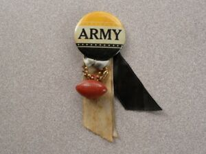 >1940s-50s U.S. Military Academy ARMY CADETS FOOTBALL PINBACK w/ribbons, charm