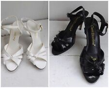 Strappy Sandals Shoes Heels 5M Lot 2 Black White Peep Toe Summer Vtg Classic