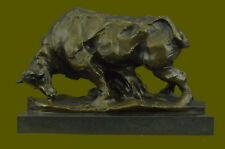 Handcrafted Bronze Copper Marble Sculpture Abstract Bull Cow Cattle OX Statue