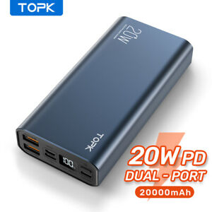 Topk 20W PD Power Bank 20000mAH Dual Port Portable USB C Fast Charger for iPhone