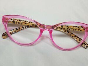 NEW Betsey Johnson Cat Eye Pink/Cheetah Reading Glasses Readers