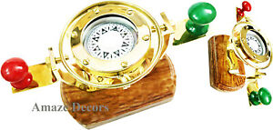 Nautical Maritime Gift Ship Boat Compass Polished Brass Gimbled With Wooden Base