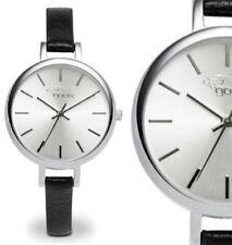 Damen Armbanduhr Silber/Schwarz schmales Lederarmband GX08003044A von gooix