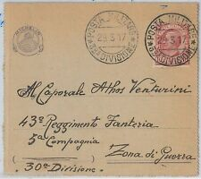 ITALY  - POSTAL HISTORY - Military  FORMULAR STATIONERY funded by MICHELLIN 1917