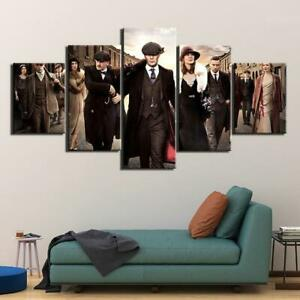 Peaky Blinders TV Show Framed 5 Piece Canvas Wall Art Image Picture Wallpaper Mu