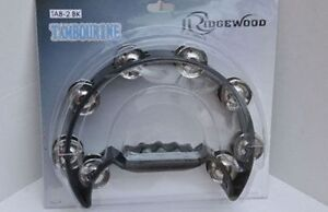 RIDGEWOOD TAB-2 BK Tambourine 16 pairs of chrome chimes black frame & handle.