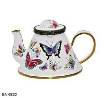 KELVIN CHEN Enamel Copper Hand Painted Miniature Mini Teapot-  Butterfly