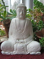 Buddha Statue, White Buddhist Concrete Figure, Meditating Cement Garden Decor