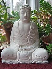 Buddha Statue, White Buddhist Concrete Figure, Meditating Cement Garden Decor