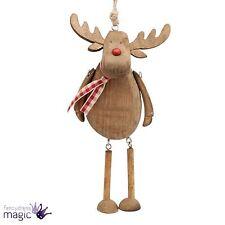 madera Reno ciervo rudolf RÚSTICO COLGANTE PIERNAS Decoración Árbol Navidad