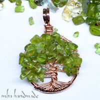 Peridot Crystals Tree Of Life Necklace Antiqued Copper Wire Wrapped Handcrafted
