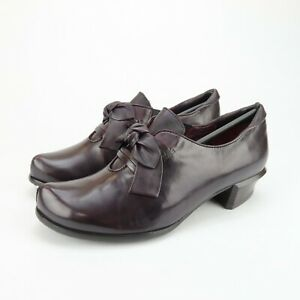 Spring Step Womens Ilda Slip On Plum Leather Comfort Bootie Shoes Size 7 US 38