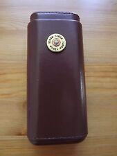 Brown Leather Cedar Lined 3 Cigar Case Hunter Shotgun Shell 12 GA