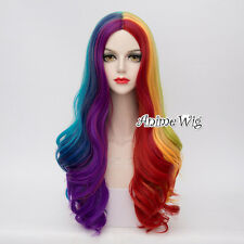 Fashion 70CM Rainbow Mixed-Colors Ombre Braid Lolita Cosplay Curly Full Wig