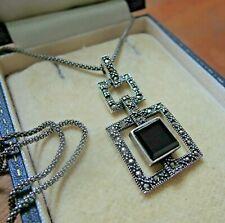 """Sterling Silver Art Deco Design Black Onyx and Marcasite Pendant Necklace 20"""""""