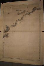 ANCIENNE CARTE HYDROGRAPHIQUE MARINE DE ST TROPEZ A MENTON FRANCE  105 x 75 cm