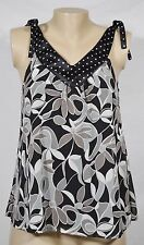 MIXIT Black Gray Patterned Sleeveless Top Small Polka Dot Neckline Tied Shoulder