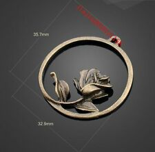 PJ1262 6pc Retro Bronze rose flowers pendant Jewelry Accessories wholesale