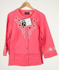Bob Mackie's *Size XL* 3/4 Sleeve Embroidered and Cut Out Jacket PINK