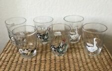 NWT Anthropologie SET OF SIX Homestead Juice Glasses-2 Geese,2 Pigs,& 2 Roosters