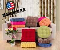 "Made USA 3"" Thick Corduroy Cushion Pad Seat Chair Patio Car Office- Round/Square"