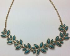 "Necklace New Monet Statement Leaf Turquoise & Gold Color 17"" Retail Reg. $36"