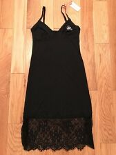 womens Black Satin Chemise Nightdress Primark Sexy Strappy Slip size 10/12