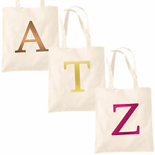 Single Letter METALLIC Printed Natural Tote Bag - Alphabet A-Z Initial Shopper
