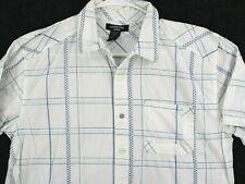 CANYON RIVER BLUES Vtg Windowpane Plaid Button Shirt Youth Boys XL 18-20H Husky