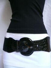CASUAL LOOK WOMEN ELASTIC WAISTBAND STRETCH BLACK WIDE WAISTED BELT SIZE XS S M