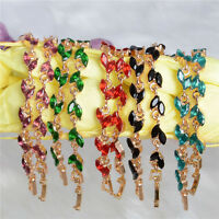Elegant Gold Austrian Crystal Women Lady Bangle Wristband Chain Bracelet Jewelry
