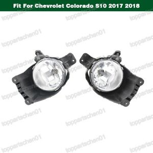 1Pair Front Bumper Lamps Clear Fog Light For Chevrolet Colorado S10 2017 2018