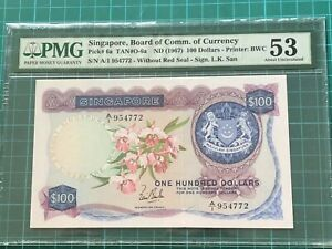 1967 A/1 Prefix Singapore Orchid Series $100 Banknote PMG 53 AU
