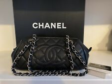 CHANEL Black Quilted Caviar Mademoiselle Bowling Bag Silver HDW Chain Handles