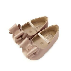 NIB Beautiful Lullabee Baby Girl Satin Bow Shoes Sz 19/US 4