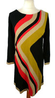 M&S 16 Black Beige Mustard Red Jumper Style Striped Dress Knitted Long Sleeve