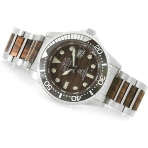 Invicta 22328 Grand Diver Woodie Automatic Date Wood Dial Resized Mens Watch