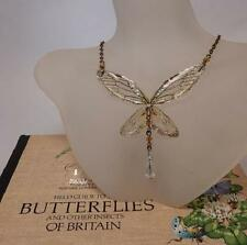 Butterfly Wing delicate necklace amber crystals vintage bronze fairy jewellery
