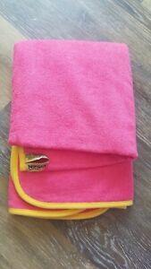 Norwex Kids Bath Towel Pink Yellow Baclock Microfiber NEW