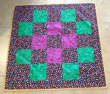 Patchwork Crib Quilt, Four Patch, Vivid Multi Colors, Balloon, Heart, Star Print
