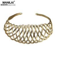 Handmade Fashion Collar Trendy Metal Wire Weave Wide Maxi Choker Necklaces