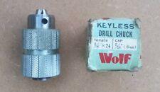 Wolf Keyless Drill Chuck 3/8 x 24 Threaded Mount 5/16 8mm Capacity All Metal