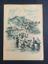 Mint WW2 Germany Army Engineers Building Bridge in River Artist Picture Postcard